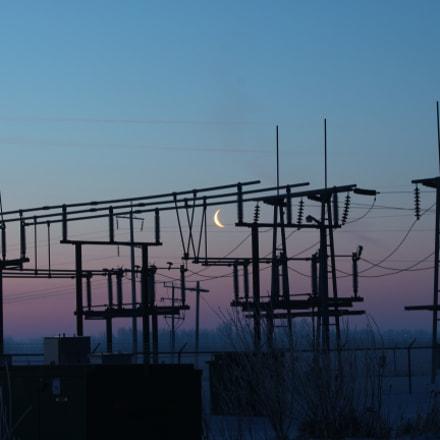 Moon over substation, Canon EOS REBEL T4I