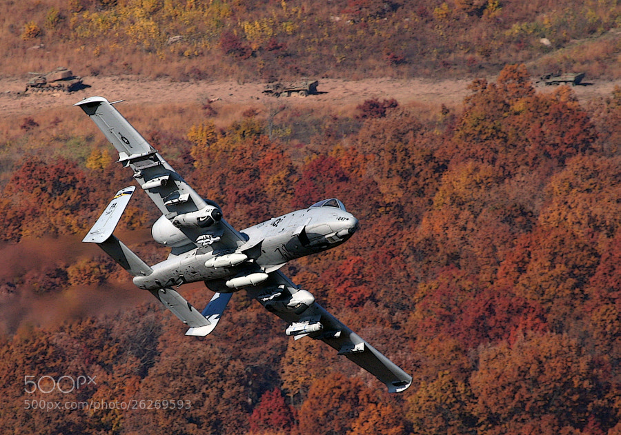 A-10A Warthog pulling up after strafing a row of targets.