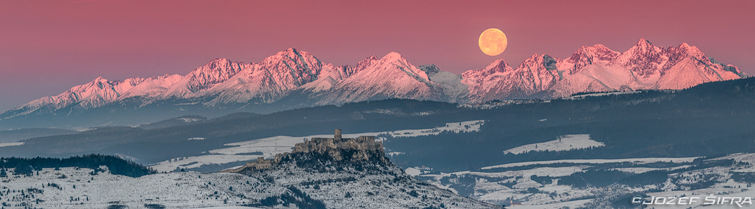 Photograph spiš castle, the high tatra and the moon by Jozef Šifra on 500px