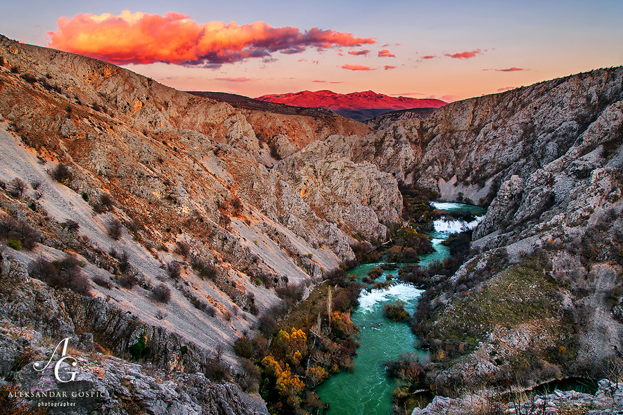 End of the day in the canyon of the river Krupa, cut into the slopes of Southeastern Velebit