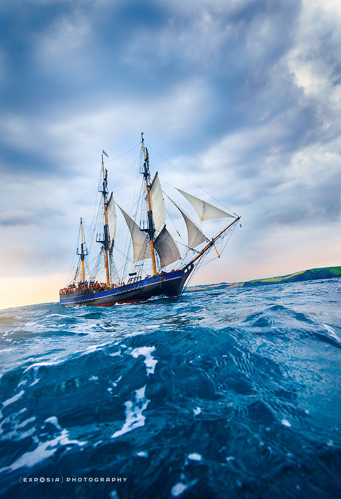 Photograph Old Tall Ship sailing off the coast of Cornwall by Howard Oates on 500px