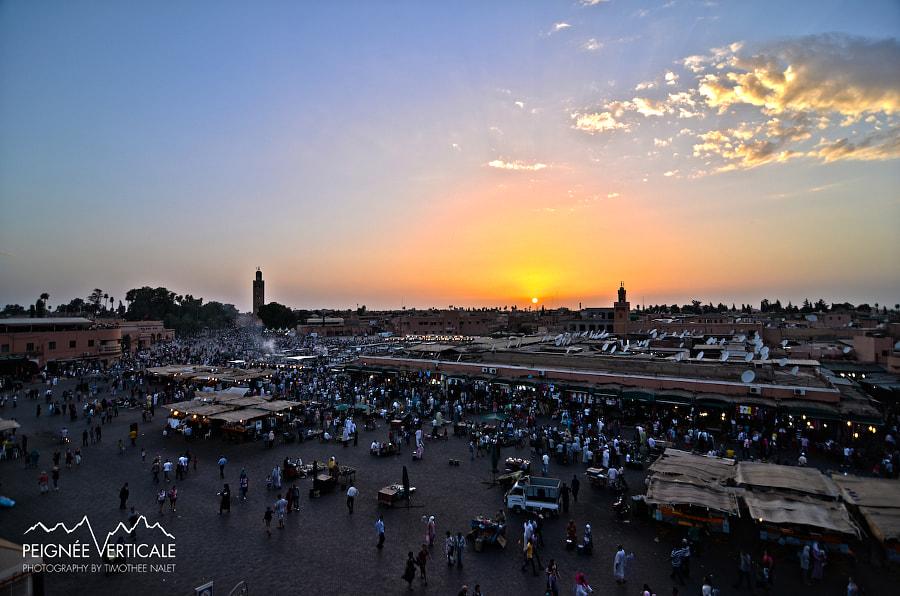 Jemaa El Fna Square at sunset, Marrakech, Morocco