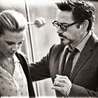 Постер, плакат: Robert Downey Jr & Scarlett Johansson in Moscow
