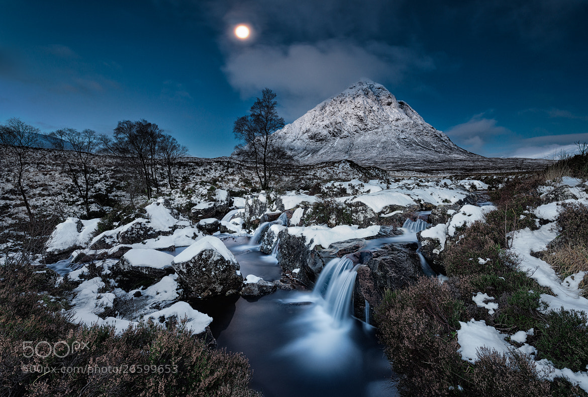 Photograph Moon, snow and the mountain by Chris Newham on 500px