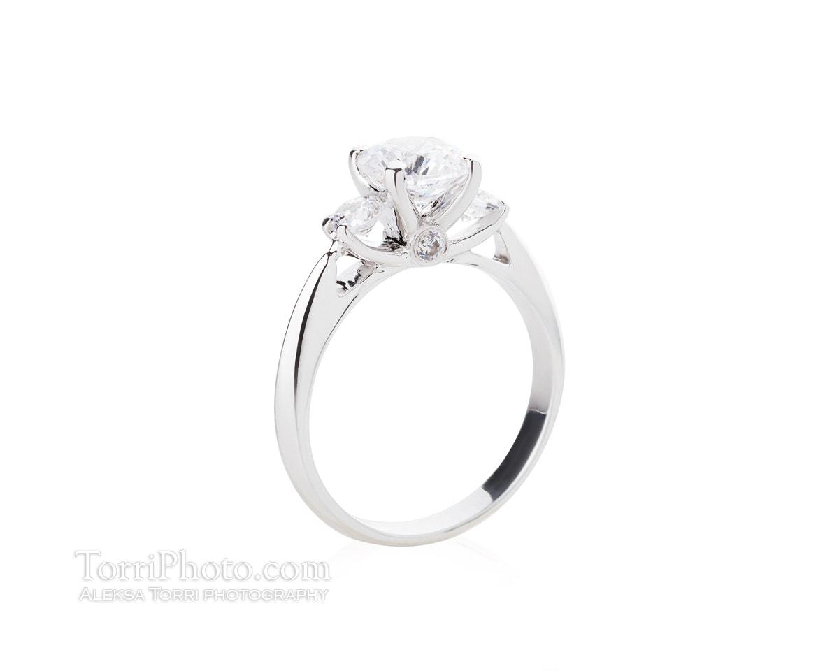 Wedding diamond ring isolated on a white background
