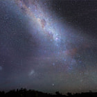 A shooting star captured streaking past the Milky Way. Lake Hume, Huon Victoria