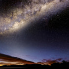 A vibrant Milky Way as  astronomical twighlight lights the morning sky over Lake Hume. Huon Victoria.