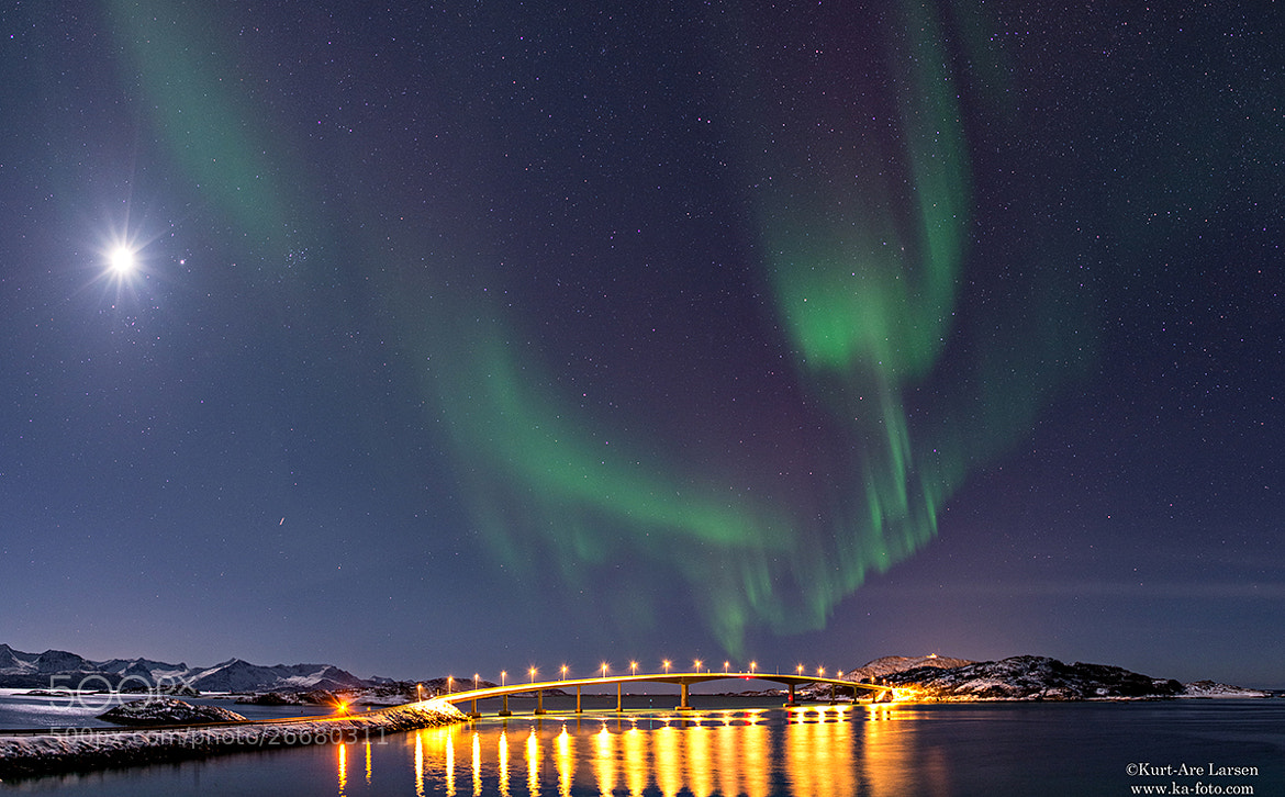 Photograph Aurora over Sommaroy Bridge by Kurt-Are Larsen on 500px