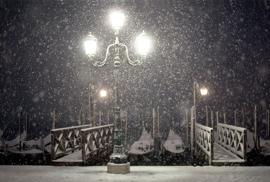 Photograph Venice - Street Lamp - Snowstorm At Night by Fab Ven on 500px