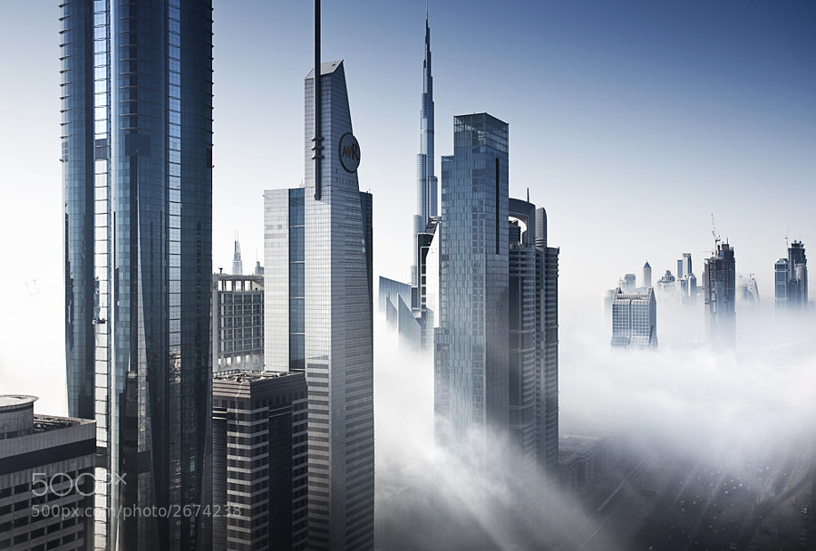 Mist in Dubai. A rare sight in this part of the world.