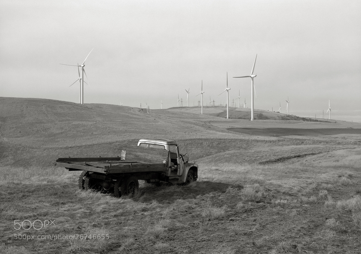 Photograph Old Truck with Windmills, Goodnoe Hills, Washington by Austin Granger on 500px