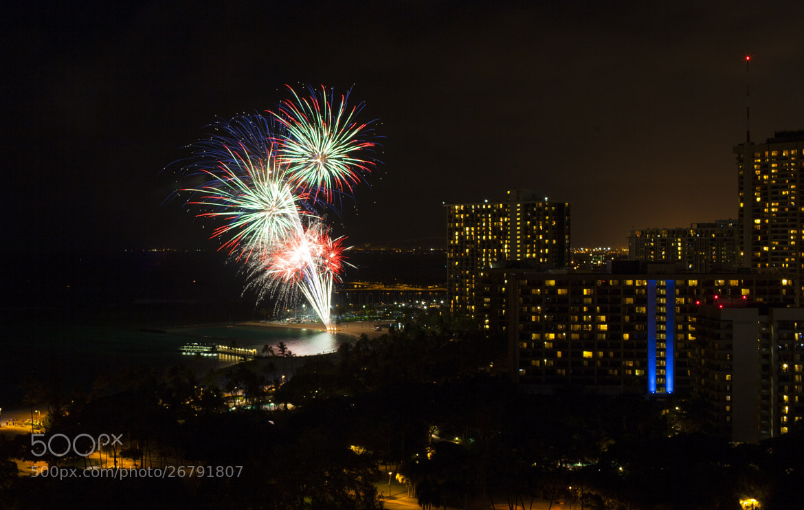 Photograph Waikiki Beach Fireworks by Matthew Perry on 500px