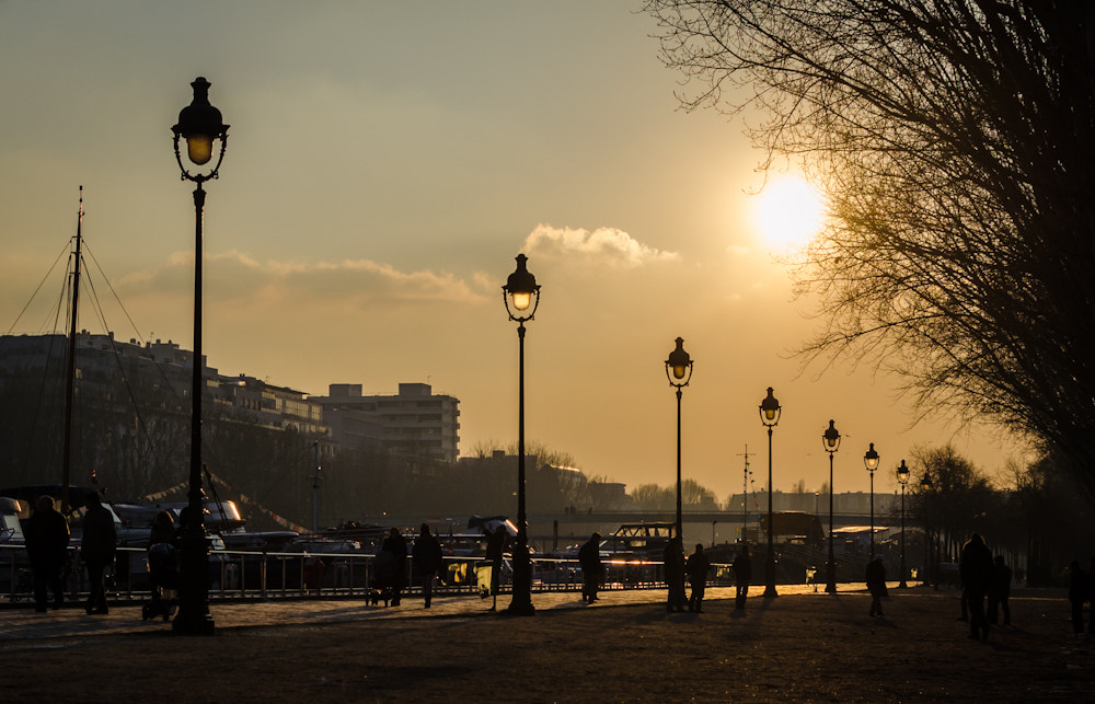 Photograph Peaceful Sunset in Paris near a small river with some boats by Vu Anh on 500px
