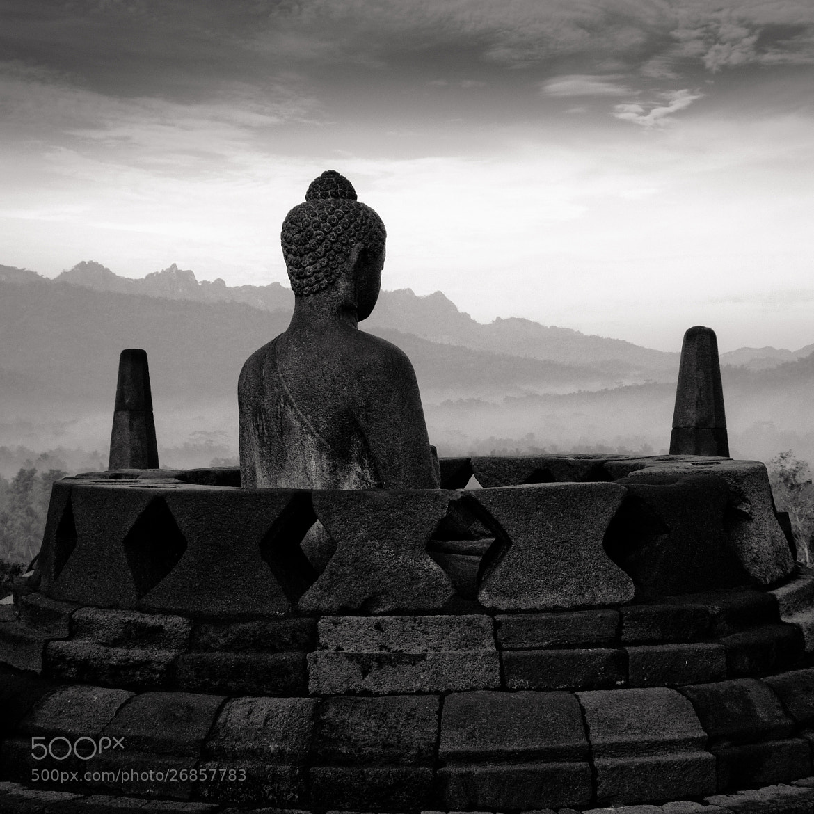 Photograph Bouddha meditate in stupa - Borobudur - Java Island by Olivier Bergeron on 500px