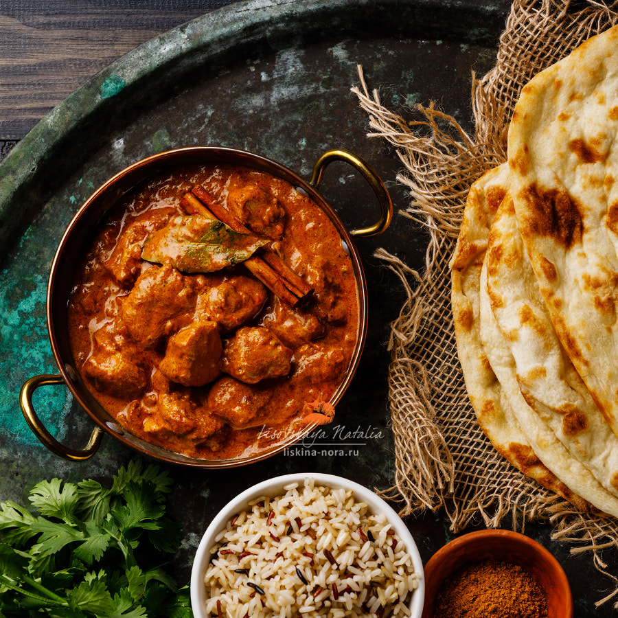 Chicken tikka masala spicy curry meat food with rice and naan by Natalia Lisovskaya on 500px.com
