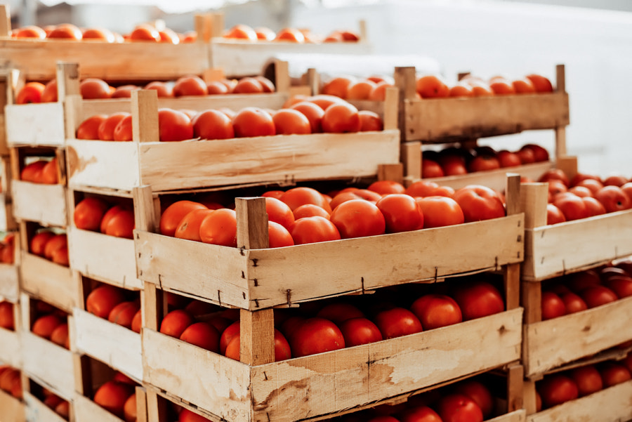 Stack of tomatoes in basket for sale. Market sale. by Branislav Nenin on 500px.com