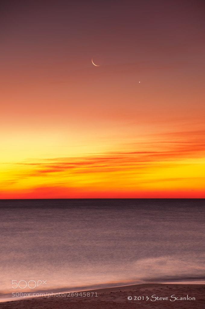Photograph Moon and Venus  (1/10/13) by Steve Scanlon on 500px