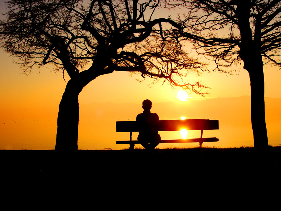 Sitting on bench. Loneliness.