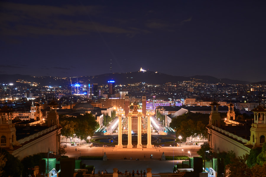 Barcelona cityscape by night from Montjiuc by Antonello Franzil on 500px.com