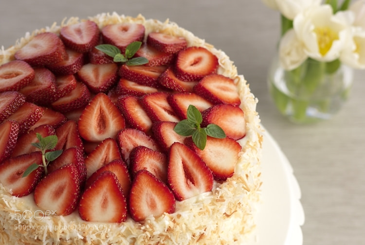 Photograph Driscoll's® Strawberry Coconut Cake by Driscoll's Berries on 500px