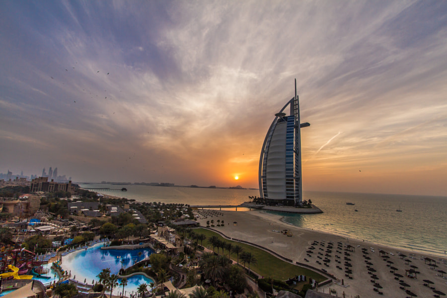Sunset over Wild Wadi and Burj Al Arab by Jaideep Abraham on 500px.com