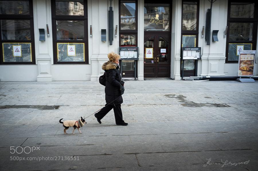 Woman Walking Her Dog, Vienna, Fujifilm X100