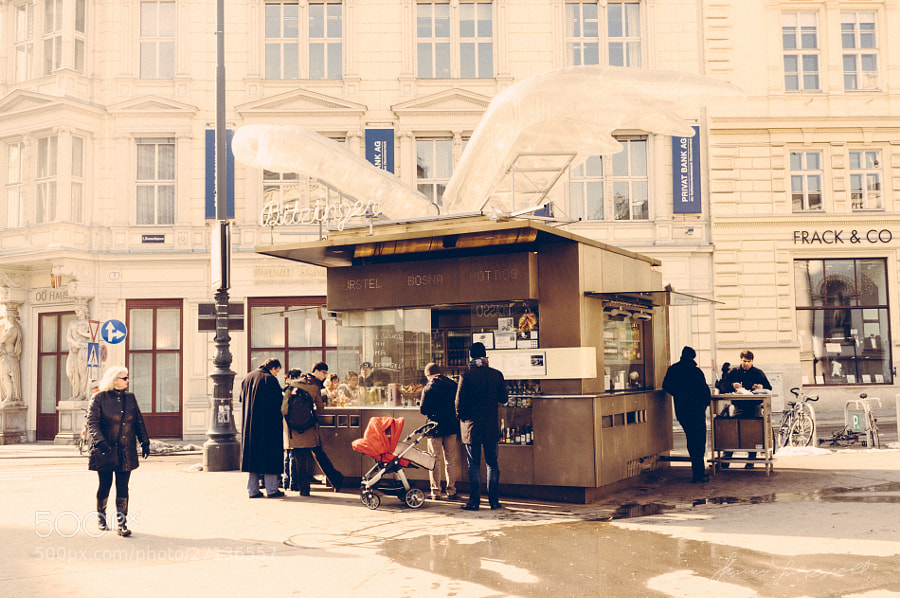 Hot Dog Stand outside the Opera House in Vienna  Vienna, Fujifilm X100