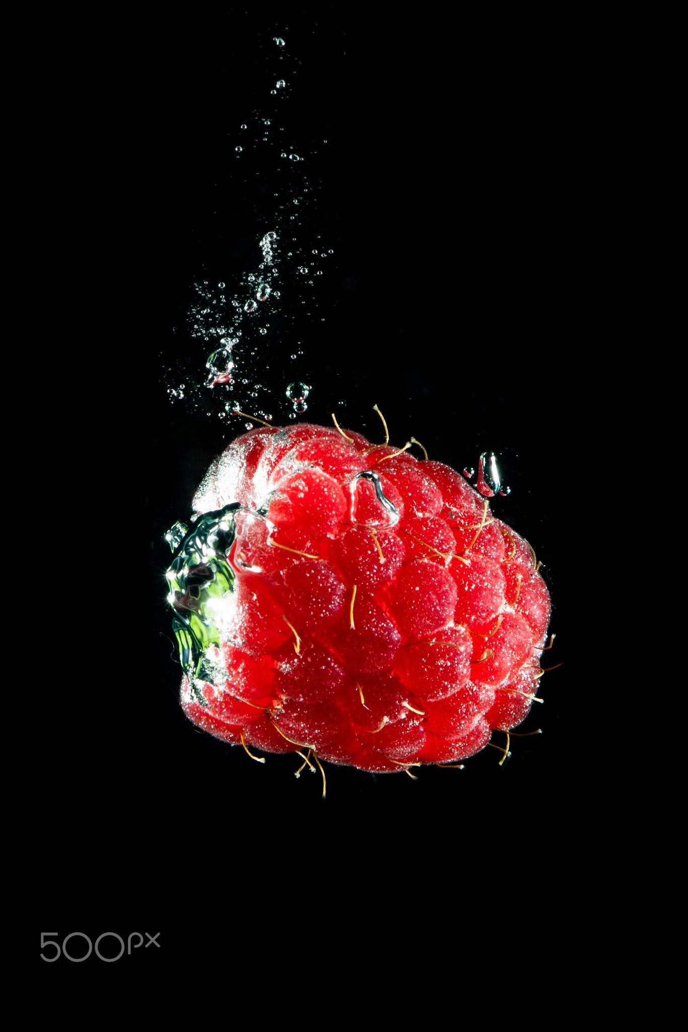 Fresh berry falling in water