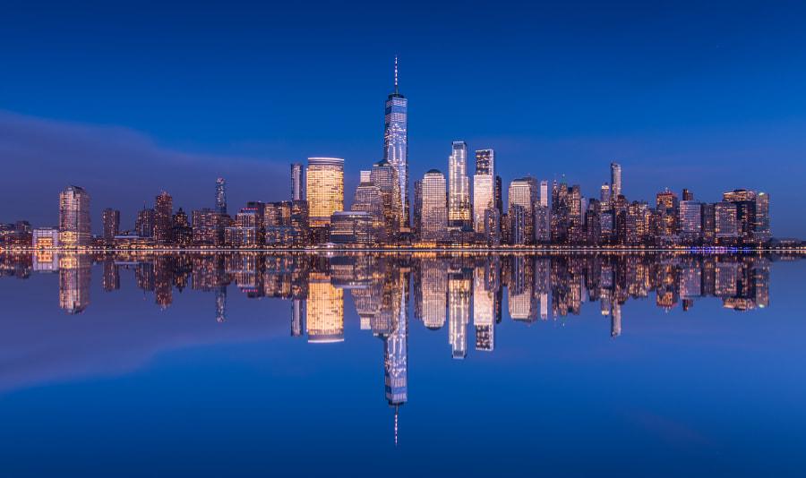 Manhattan in Blue, автор — John S на 500px.com