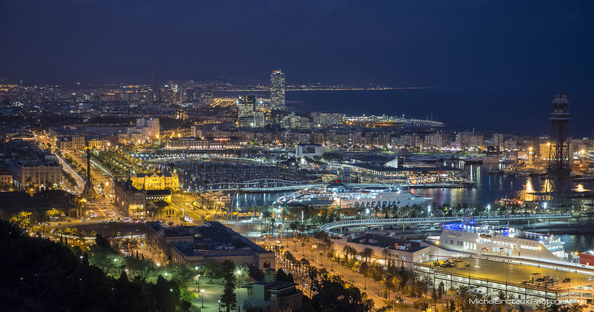 Photograph Barcelona Harbour - Night view by Michel Bricteux on 500px