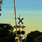 A early morning in Summerland. California at a railroad crossing .