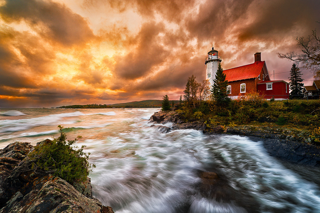 Photograph Stormy Sunrise At Eagle Point Lighthouse by Steve Perry on 500px