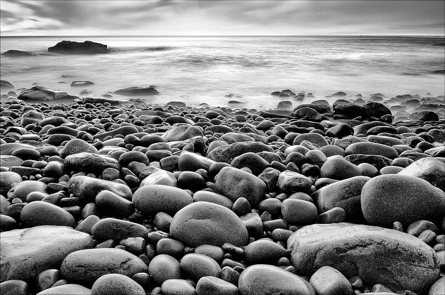 Sunrise shot taken at Boulder Beach in Acadia National Park, Maine.  All the photographers were shooting to the right to get Otter Cliffs.  So, I shot straight ahead, and got a great image.