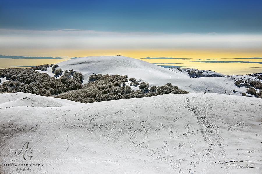 On the white dunes of Velebit mountain, above the golden Adriatic...