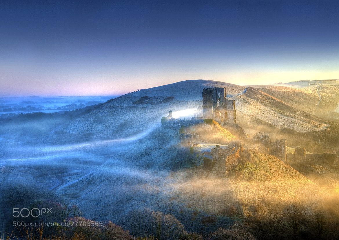 Photograph Corfe Castle mist by mike Byford on 500px
