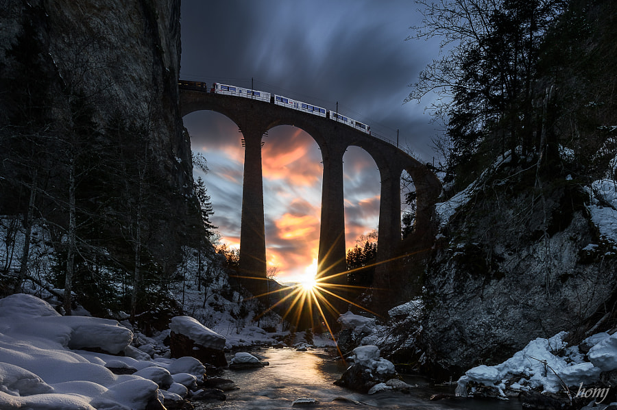"""Sunset behind the bridge"" by Jürg Homberger on 500px.com"
