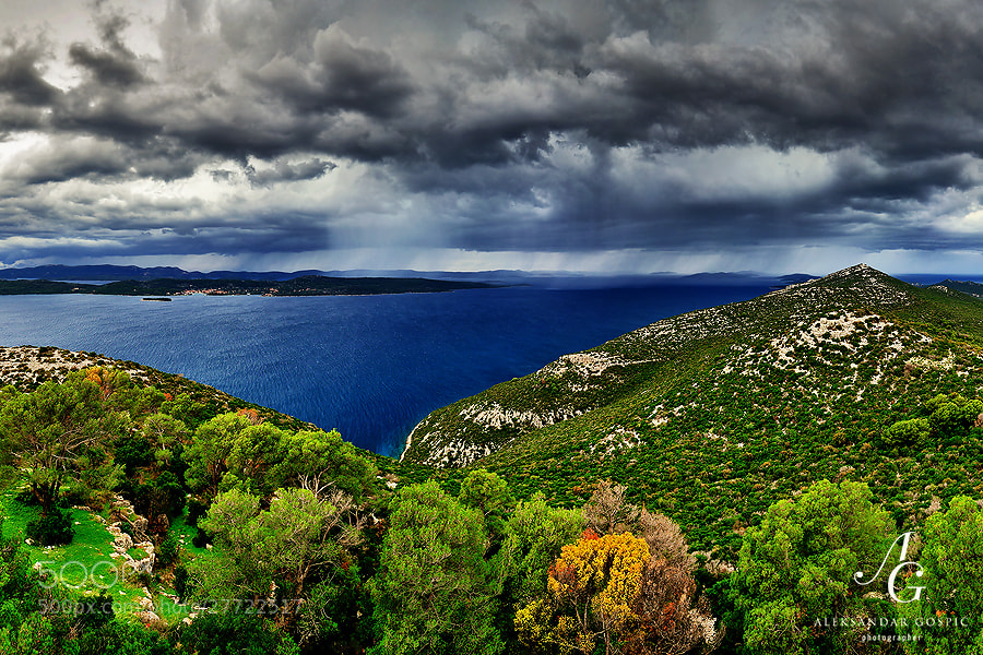 Arrival of the cold front over the islands of the Zadar archipelago, as seen from the Ugljan island.  Mid Adriatic, Croatia