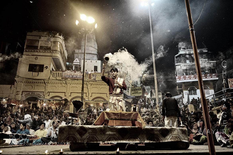 Photograph Ganga Arti at Dasaswamedha ghat - Varnasi 2013 by Mayur Channagere on 500px