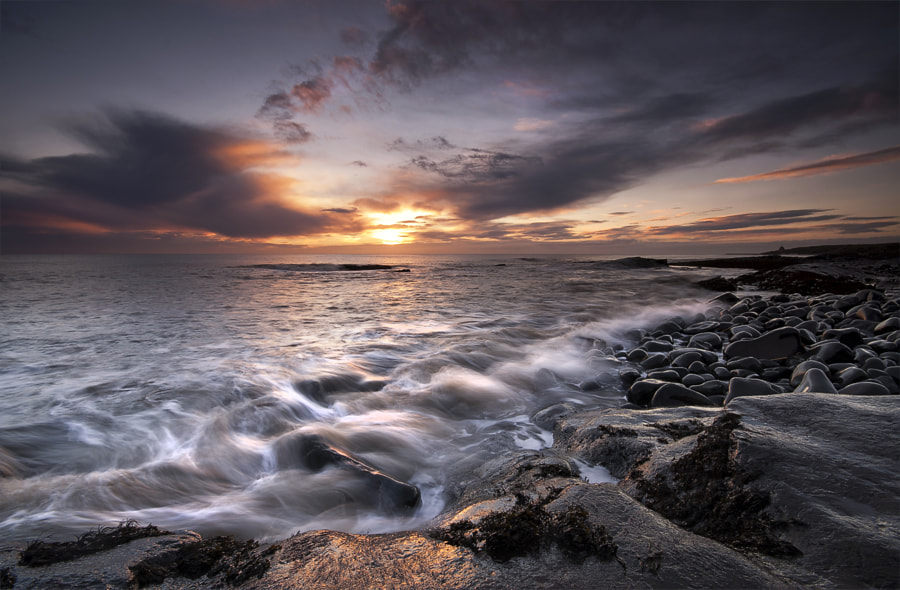 A frisky sea and some dark clouds made for a beautiful morning at Swines Den, Cullernose Point in Northumberland.