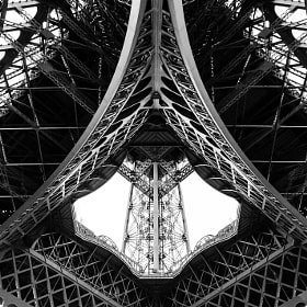 Looking up from under the Eiffel Tower, Paris, France