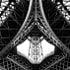 Looking up from under the Eiffel Tower, Paris, France.