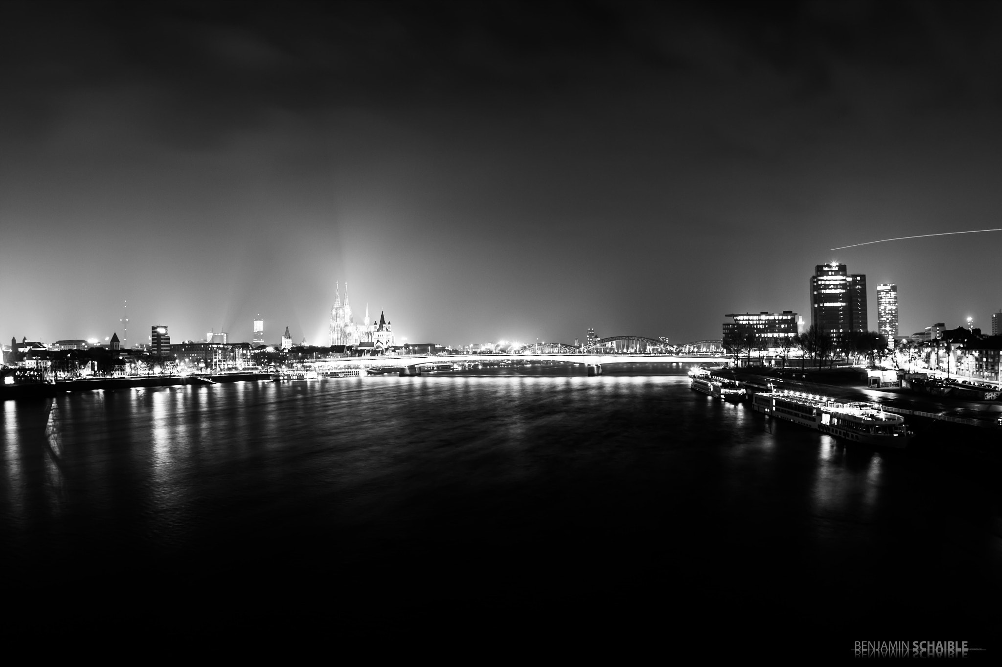 Photograph cologne at night_b&w by Benjamin Schaible on 500px