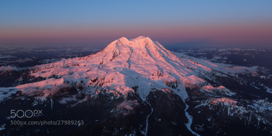 Pink alpenglow fills the western flanks of Mount Rainier as it stands tall in the atmosphere.