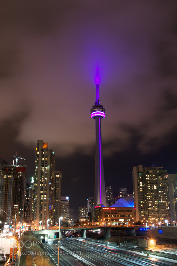The CN Tower as seen from the CityPlace pedestrian bridge.