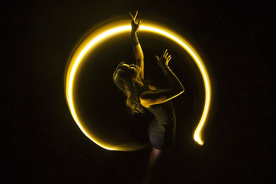 Photograph Bullet time lightpainting with Sarah Louis-Jean by Eric  Paré on 500px
