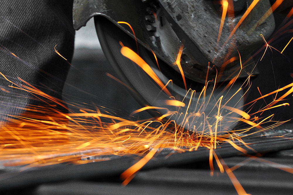 Photograph Angle grinder sparks by Sorin Petculescu on 500px