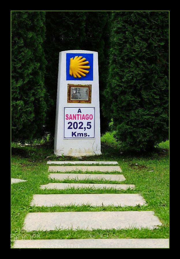 Camino de Santiago 2012  El Acebo - Ponferrada III  _______________________________ Monolito Homenaje a   JOUKO JUHANI TYYRI  Un peregrino finlandés, murió el 9 de mayo de 2001 en el albergue de peregrinos de Nicholas of Flüe, de Ponferrada mientras dormía.
