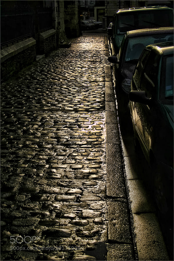 Photograph Wet Cobbles outside the Cathedral, Angers by Andrew Barrow LRPS on 500px