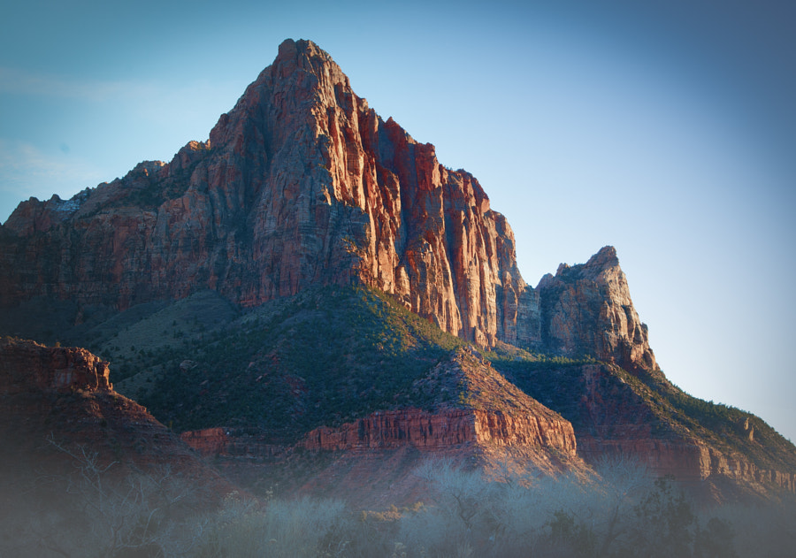 Morning light cuts through the mist in Zion National Park.