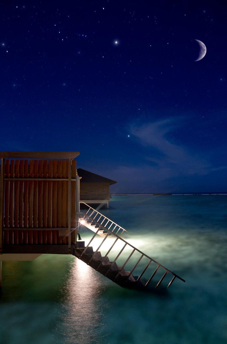 Photograph Water villa at night by Leander Nardin on 500px